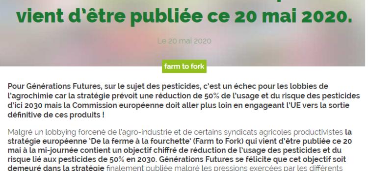 La Stratégie 'De la ferme à la fourchette' de l'Union européenne vient d'être publiée ce 20 mai 2020.